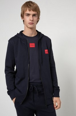 Zip-through hoodie in French terry with logo label, Dark Blue