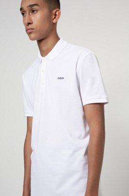 Poloshirt aus Baumwoll-Piqué mit Reversed-Logo, Weiß