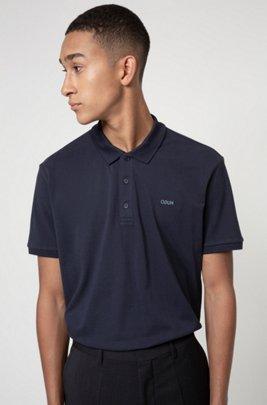 Poloshirt aus Baumwoll-Piqué mit Reversed-Logo, Dunkelblau