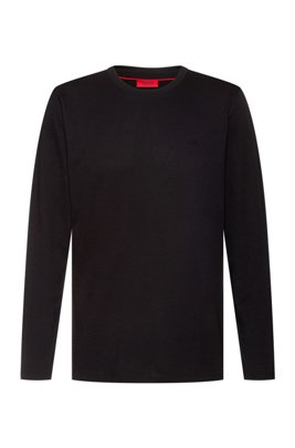 Long-sleeved T-shirt in cotton with reversed-logo print, Black
