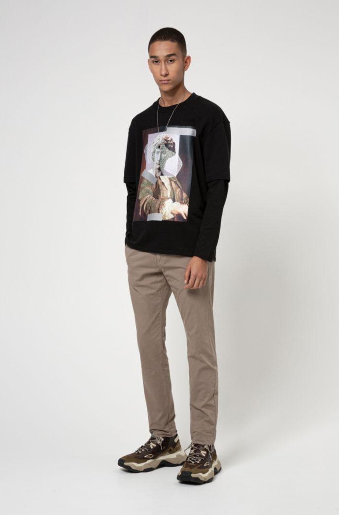 T-shirt à manches longues en coton avec logo inversé imprimé