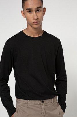 T-shirt à manches longues en coton avec logo inversé imprimé, Noir