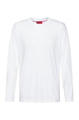 T-shirt à manches longues en coton avec logo inversé imprimé, Blanc