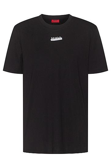 徽标艺术图案装饰棉质针织 T 恤,  001_黑色