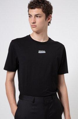 T-Shirt aus Baumwoll-Jersey mit Logo-Artwork der neuen Saison, Schwarz