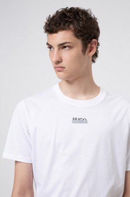 Cotton-jersey T-shirt with new-season logo artwork, White