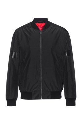 Water-repellent bomber jacket with new-season logo artwork, Black