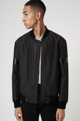 Water-repellent bomber jacket with new-season logo artwork, Black