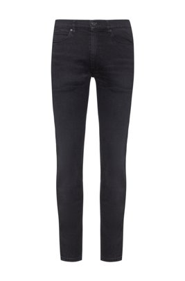 Extra-slim-fit jeans in dark-grey stretch denim, Dark Grey
