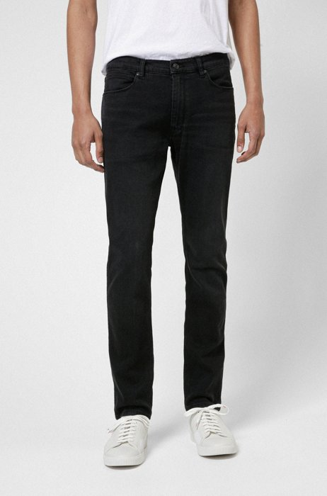 Extra-slim-fit jeans in dark-grey stretch denim, Dark Grey