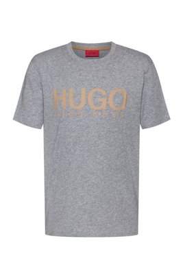 Logo-print T-shirt in African cotton, Silver