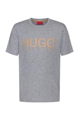 Camiseta de algodón africano con estampado del logo, Plata