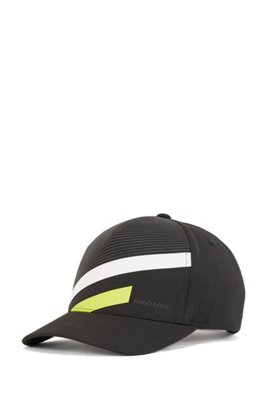 Stripe-print cap in stretch canvas, Black