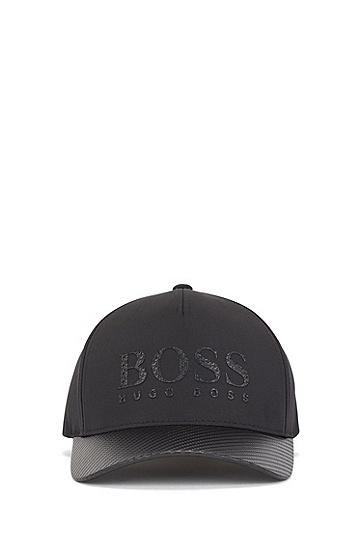 炭黑色徽标印花高科技面料运动帽,  001_黑色