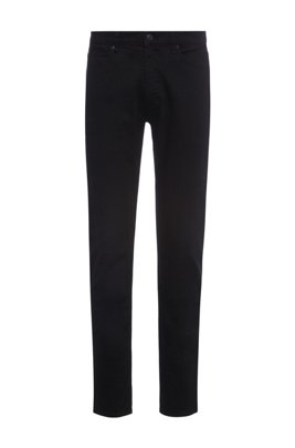 Extra-slim-fit jeans in rinse-washed black stretch denim, Black