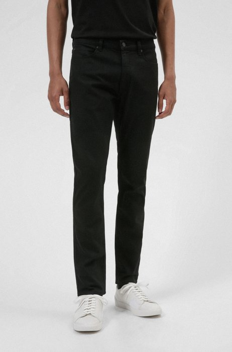 Extra-slim-fit jeans in rinse-washed black stretch denim, Black