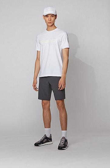男士徽标透气舒适运动帽,  100_白色