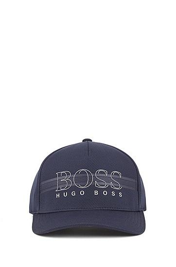 男士徽标透气舒适运动帽,  410_海军蓝色
