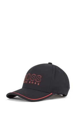 Cotton-blend cap with outline logo, Black