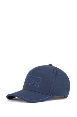 Cotton-blend cap with outline logo, Dark Blue