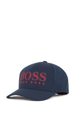 Stretch-piqué cap with chain-stitched logo, Dark Blue
