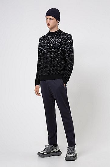初剪羊毛面料宽松版图案装饰毛衣,  001_黑色