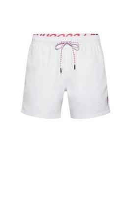 Short de bain mixte à séchage rapide avec ceinture logo apparente, Blanc