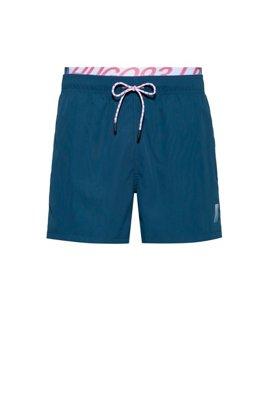 Short de bain mixte à séchage rapide avec ceinture logo apparente, Bleu foncé