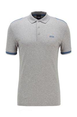 Slim-Fit Poloshirt aus Baumwolle mit Kontrast-Streifen, Hellgrau