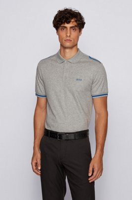 Slim-fit polo shirt in cotton with contrast stripes, Light Grey