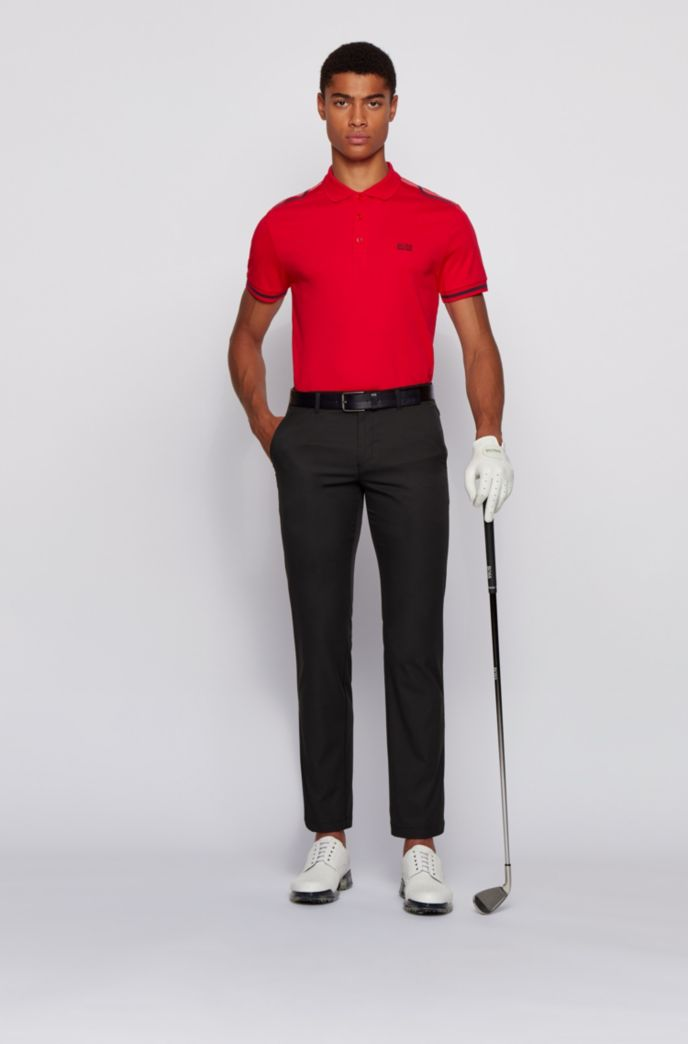 Slim-fit polo shirt in cotton with contrast stripes