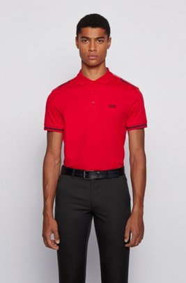 Slim-fit polo shirt in cotton with contrast stripes, Red