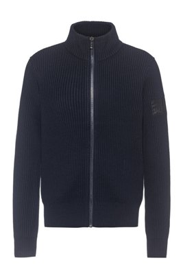 Knitted jacket in ribbed cotton and virgin wool, Dark Blue