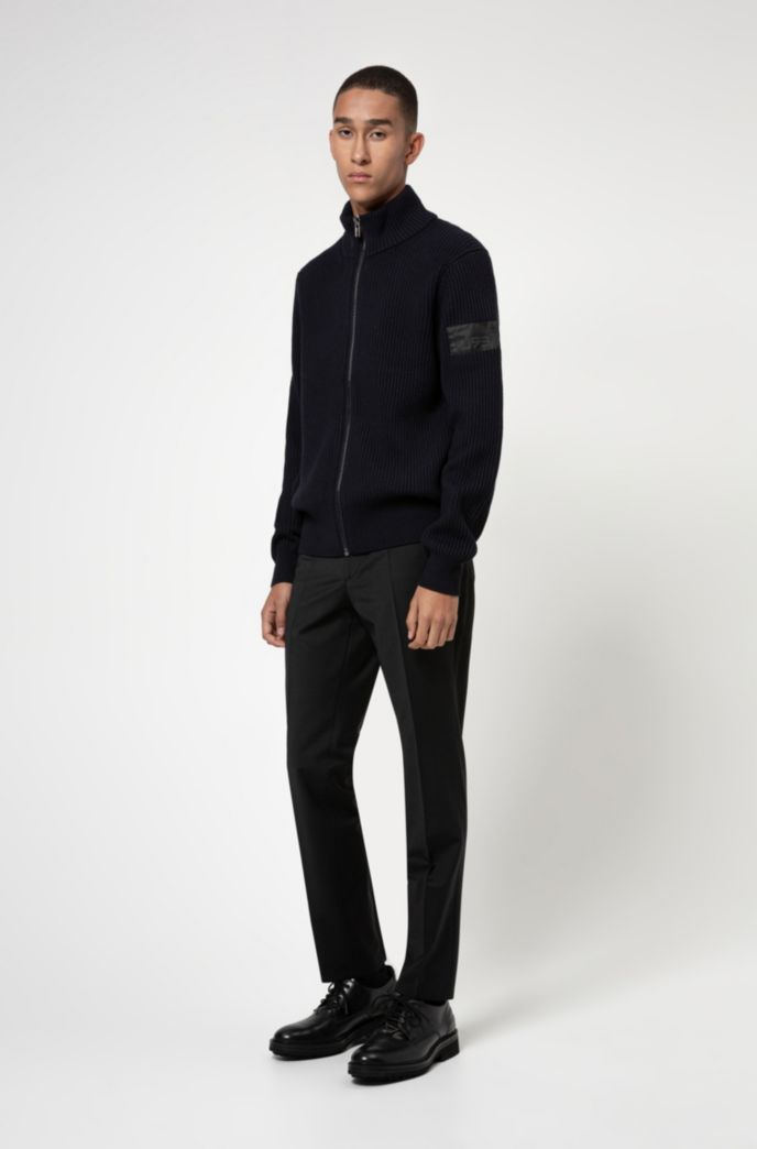 Knitted jacket in ribbed cotton and virgin wool