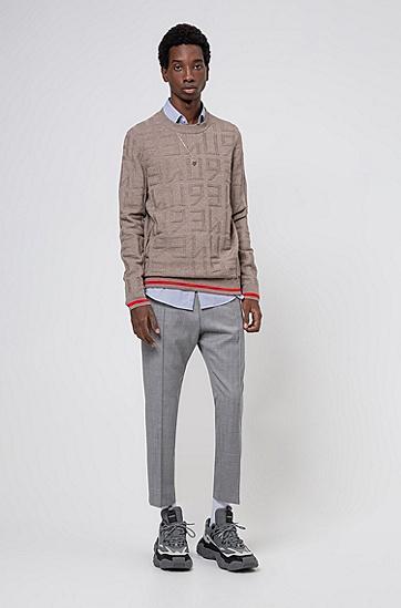 棉质和初剪羊毛徽标提花毛衣,  238_浅棕色