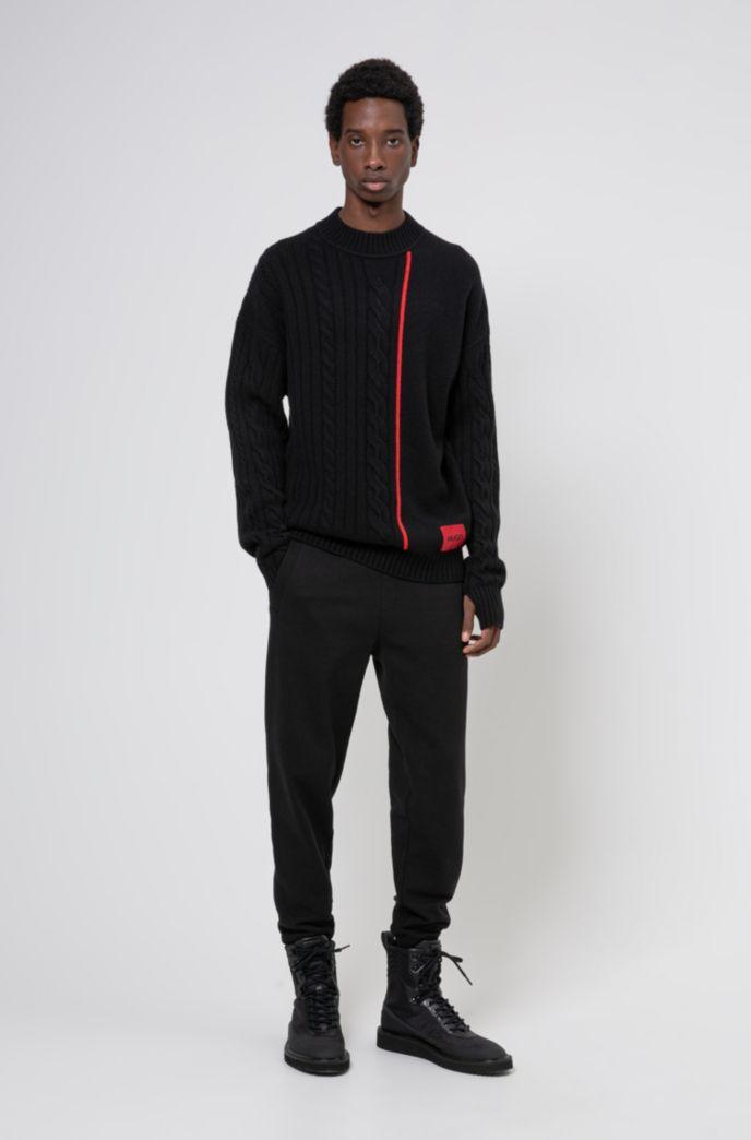 Maglione unisex con riga e logo di colore rosso