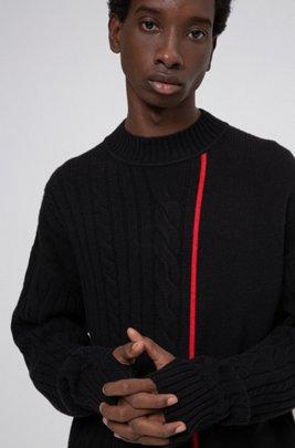 Maglione unisex con riga e logo di colore rosso, Nero