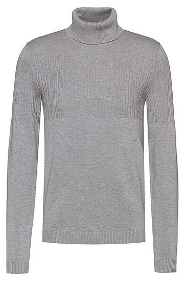 定位提花装饰高翻领羊毛棉质毛衣,  047_银灰色