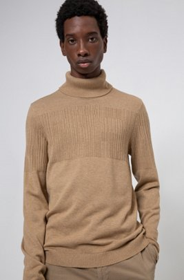 Rollneck wool-cotton sweater with placement jacquard, Beige