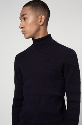 Jersey extra slim fit en algodón y lana virgen, Azul oscuro