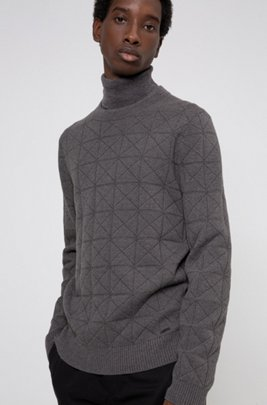 Cotton-blend jacquard sweater with collection-themed pattern, Dark Grey