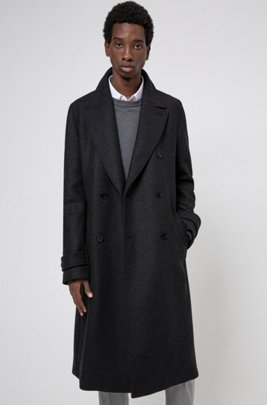 Long double-breasted coat in wool-blend twill, Dark Grey