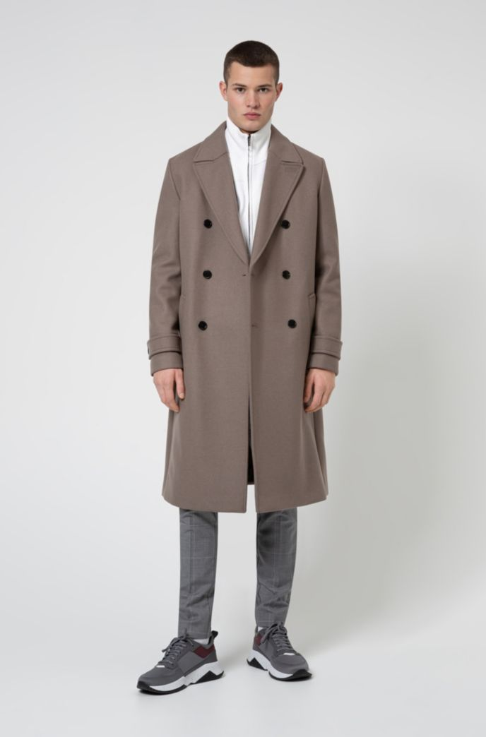 Long double-breasted coat in wool-blend twill