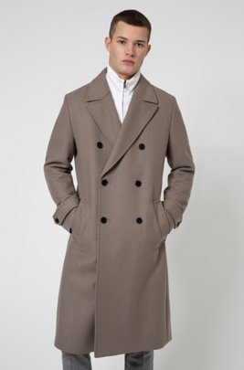 Long double-breasted coat in wool-blend twill, Light Brown