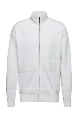 Oversized-fit knitted jacket in mixed structures, White