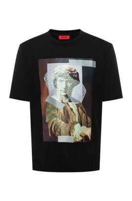 T-shirt Relaxed Fit en coton à motif statue abstraite, Noir