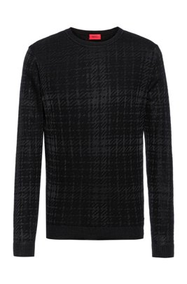 Relaxed-fit sweater with new-season check, Black