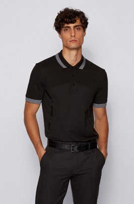 Slim-fit polo shirt in quick-drying S.Café® fabric, Black