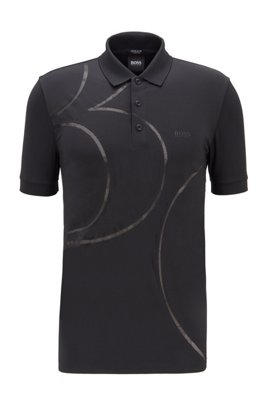 Stretch-jersey polo shirt with mesh pattern, Black