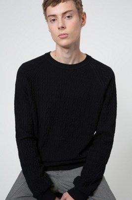 Gebreide trui in een jacquard van katoen met 3D-structuur, Zwart